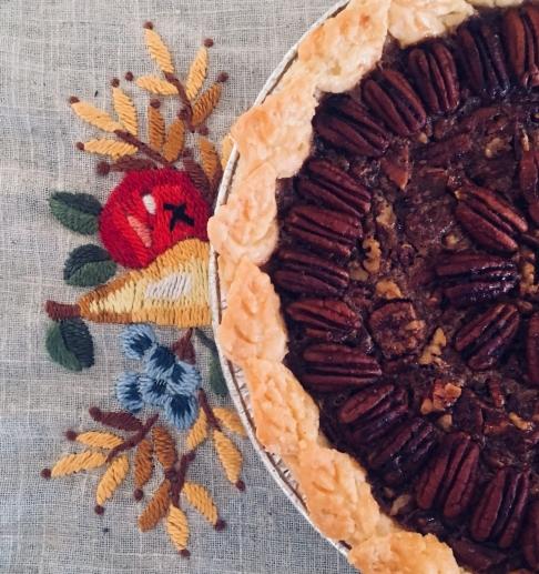 Pecan Pie with leaf cutout crust.