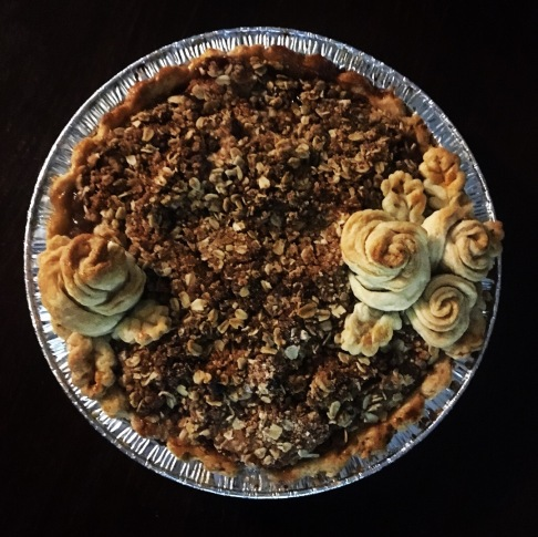 Apple Crumble with roses, baked.